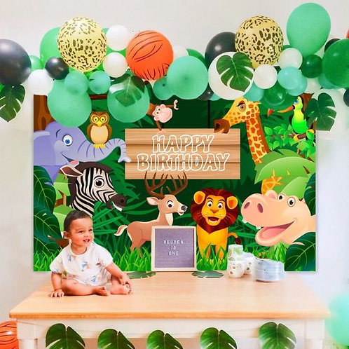 Jungle Safari happy birthday vinyl backdrop