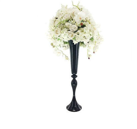Black Metal Wedding centrepiece vase, Tall centerpiece
