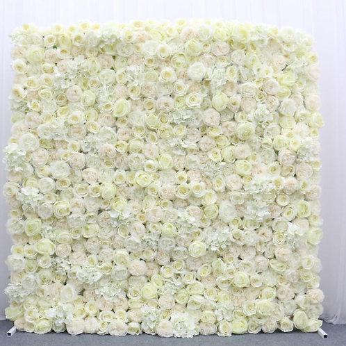 White floral wall with foam board