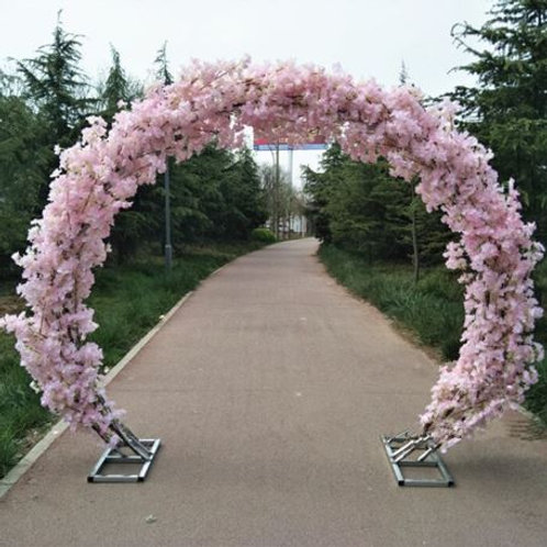 Purple cherry blossom and Metal arch wedding backdrop arch