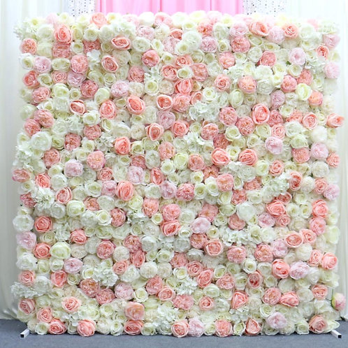 Pink and white floral wall with foam board