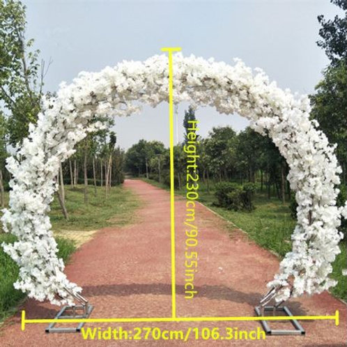 Ivory cherry blossom and Metal arch wedding backdrop arch