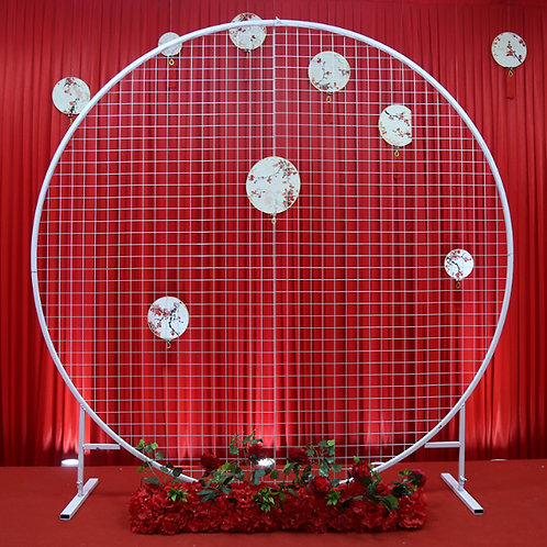 White Wedding arch frame stand/ round grid arch