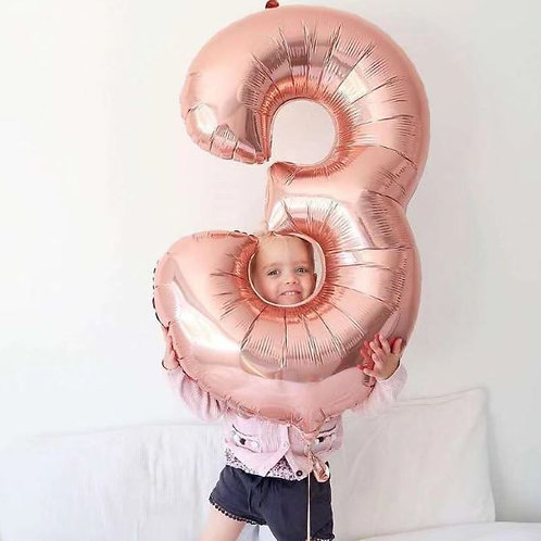 "40"" Rose Gold Birthday balloon 0-9"