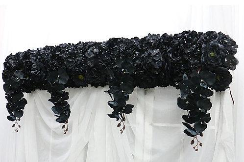 Artificial Backdrop Black rose flower row/ floral garland