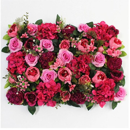 Deep Mixed Pink flower wall panel/ wall tile photo backdrop/ wall of flowers/wed