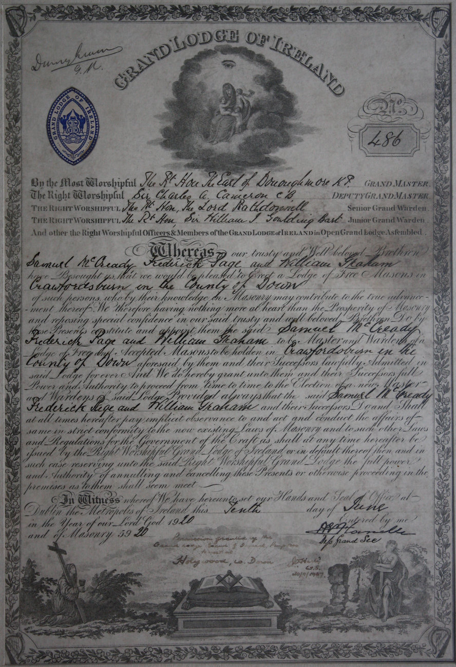 Masonic Warrant No. 486