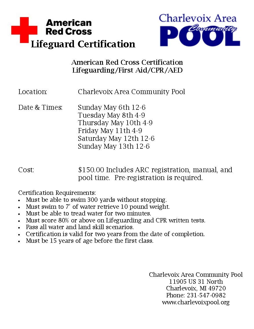 Lifeguard Training Coming Up Charlevoix Area Community Pool