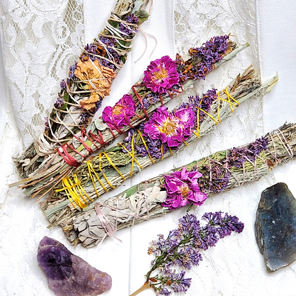 sage bundle, rose sage bundle, cleansing herb bundles, sage, smudging