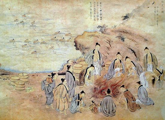 明治前半期のアワビ漁の図(三重県水産図説 明治14年)