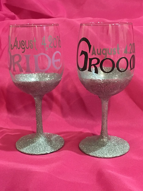 Glittered Wine Glasses-Set of 2