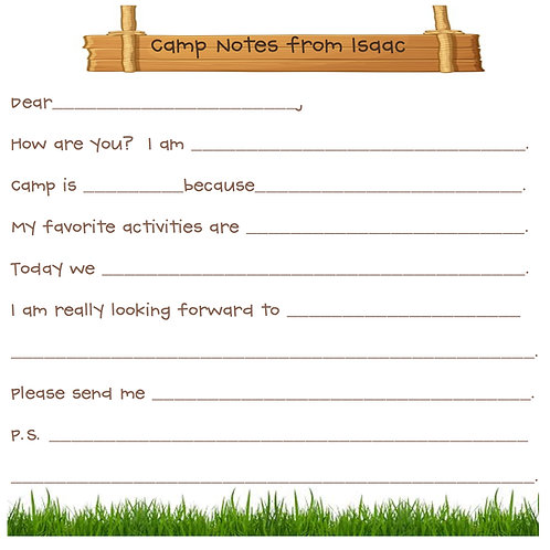 Camp Note Cards Fill in the blanks-BOYS