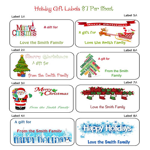 Holiday Gift Labels Collection A