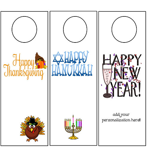 Wine Tags - Hanukkah, Thanksgiving, New Year