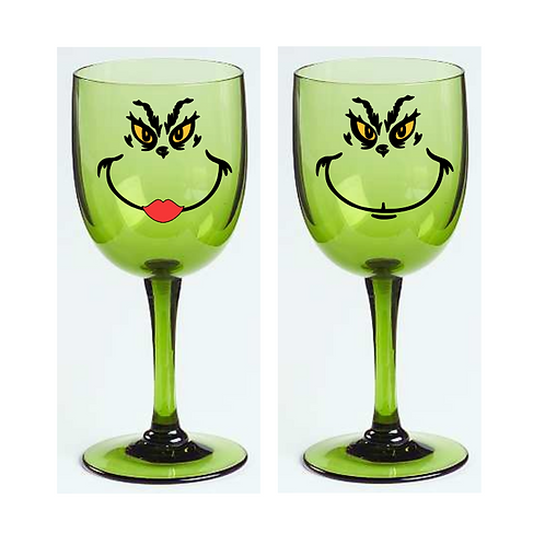 Grinch Wine Glass
