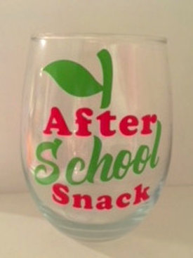 """""""After School Snack"""" Wine Glass"""
