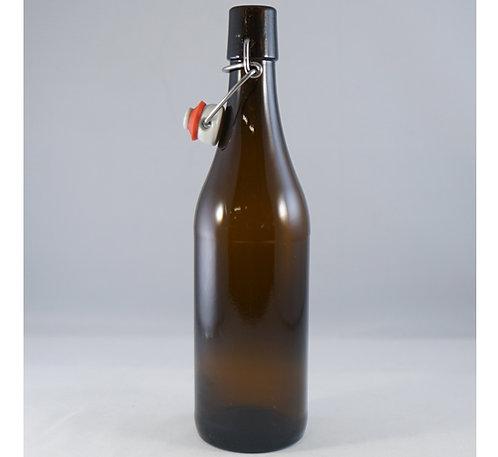 bruine fles 750 ml met porseleinen beugel