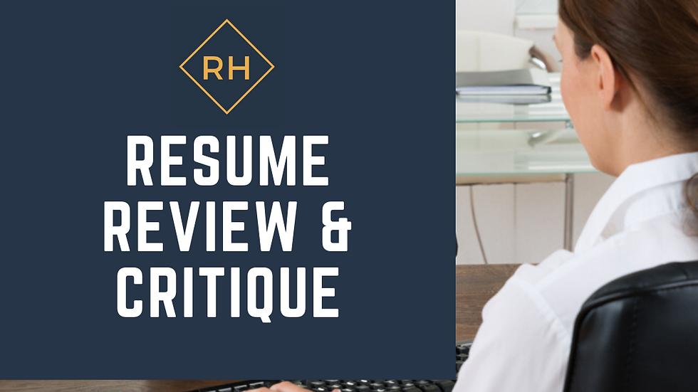 Resume Review & Critique