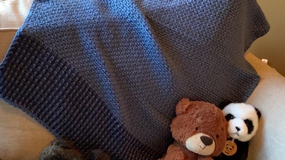 Blue & Navy Moss Stitch