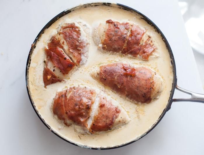 Prosciutto-Wrapped Sherry Cream Chicken