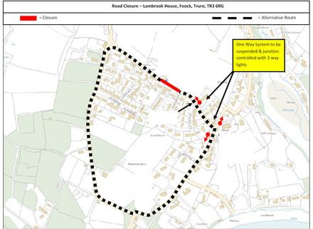 Road closure in Feock, 10th to 21st June