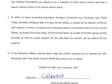 Carnon Downs Ward vacancy