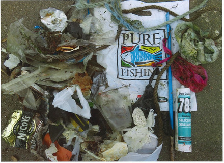 Plastic waste collected at Carnon Yard