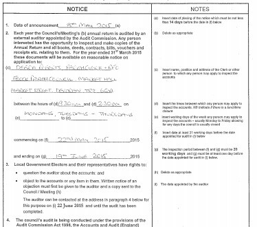 Notice of start of Audit for year 2014/15