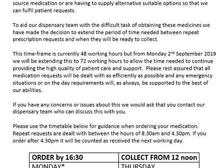 Devoran Surgery opening hours and changes to prescription arrangements