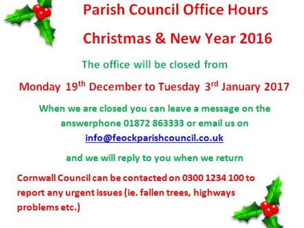 Parish Council office hours over the Christmas and New Year period