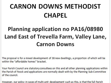 Public meeting - proposed housing development in Carnon Downs - Tuesday 22nd November at 7pm