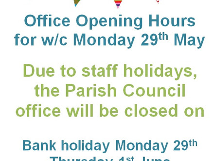 Office hours for w/c 29th May 2017