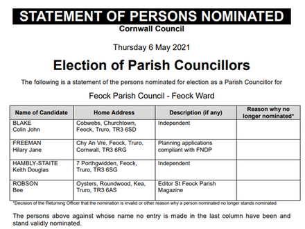 New Parish Council from 10th May 2021