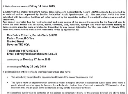 Notice of audit for year ended 31st March 2019 issued