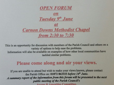 Carnon Downs Public Meeting to discuss  traffic issues
