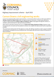 Pedestrian safety improvement works on Old Carnon Hill & Bissoe Road