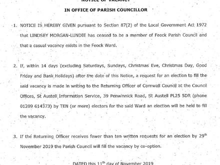 Casual vacancy for Feock ward Councillor