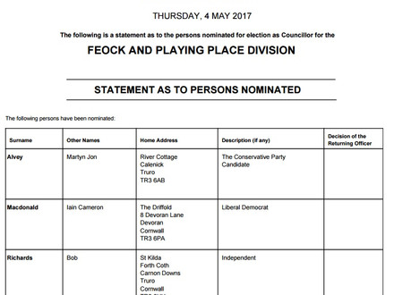 Cornwall Council Elections 2017