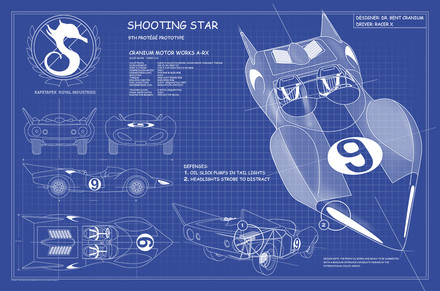 Racer X Shooting Star Blue Prints