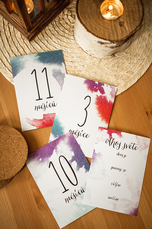 """Milníkové kartičky """"vodovky"""" - číslové 16 ks"""