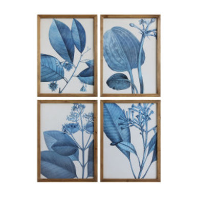 Set 4/Wood Framed Blue Botanical Wall Décor