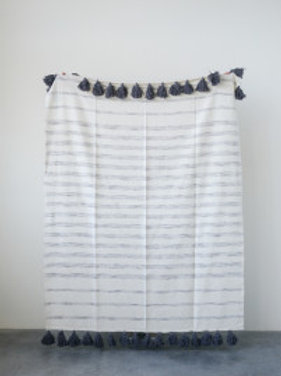 Cream Cotton Woven Throw Stripes and Tassels