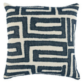 Geometric Kuba Blue Pillow