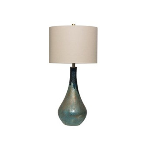 Opal Glass Table Lamp w/Linen Shade