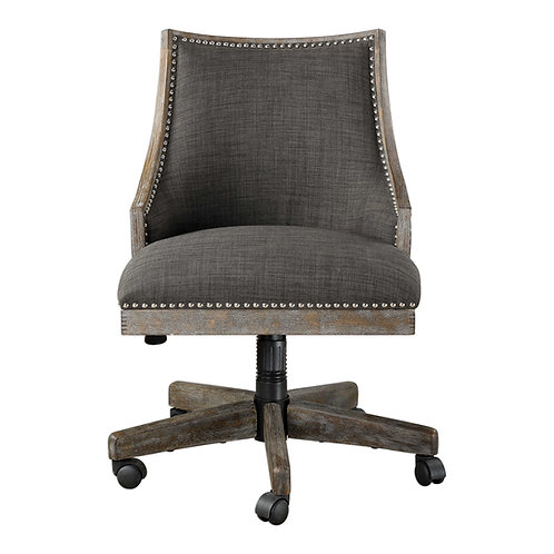 Linen Nailhead Desk Chair