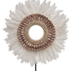 Handmade Feather & Shell Decor on Metal Stand