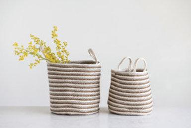 Set 2/ Braided Cotton & Jute Baskets with Beige/Gold Stripe