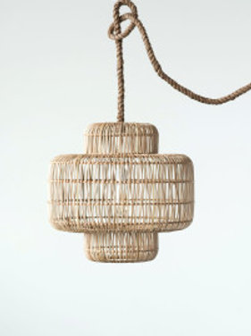 Tiered Wicker Ceiling Pendant Light with Thick Rope Cord