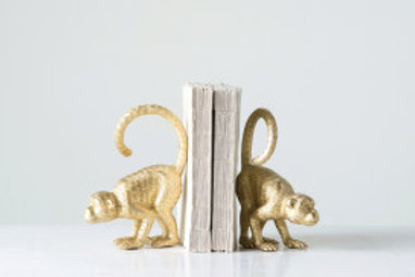 Set/2 Gold Monkey Bookends