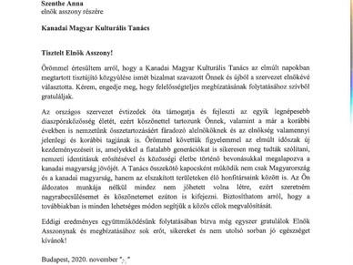 Potápi Államtitkár Úr elismerő levelet küldott a KMKT vezetőinek